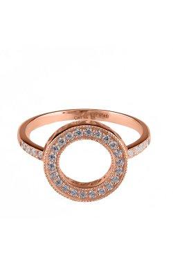 Золотое кольцо круг с фианитами 15 из красного золота 585-й пробы с куб. циркониями (1 4 3)