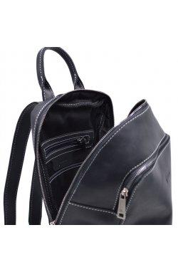 Женский черный кожаный рюкзак TARWA RA-2008-3md среднего размера