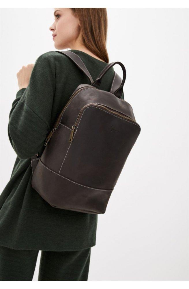 Женский коричневый кожаный рюкзак TARWA RC-2008-3md среднего размера