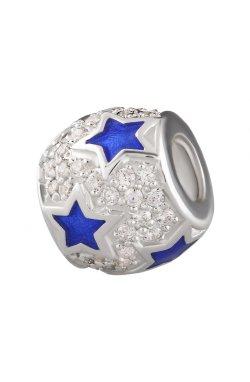 Серебряный шарм подвеска звёздная из родированного серебра 925-й пробы с куб. циркониями полимером (88 68 )