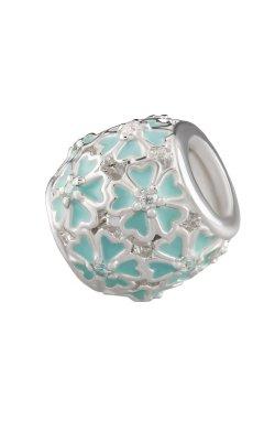 Серебряный шарм подвеска бирюза из родированного серебра 925-й пробы с куб. циркониями (88 67 )