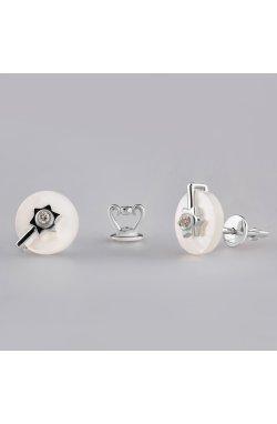 Серебряные серьги с белым перламутром из родированного серебра 925-й пробы с бриллиантом (25 702 2)