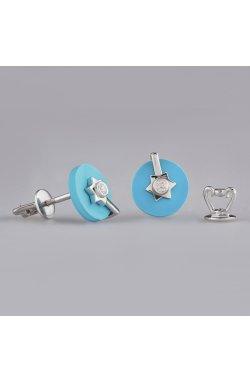 Серебряные серьги имитация бирюзы из родированного серебра 925-й пробы с бриллиантом (25 702 1)