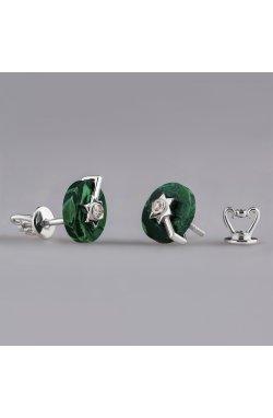 Серебряные серьги имитация малахита из родированного серебра 925-й пробы с бриллиантом (25 70 )