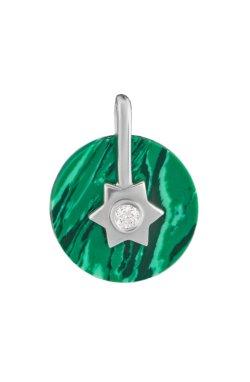 Серебряный кулон имитация малахита из родированного серебра 925-й пробы с бриллиантом (35 712 1)