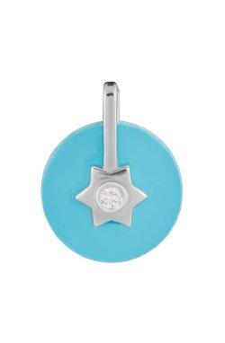 Серебряный кулон имитация бирюзы из родированного серебра 925-й пробы с бриллиантом (35 71 )