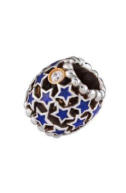 Новогодний шарм подвеска звёздная серебро из родированного серебра 925-й пробы с куб. циркониями полимером (88 66 )