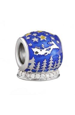 Новогодний шарм подвеска из серебра из родированного серебра 925-й пробы с куб. циркониями эмалью полимером (8823 )