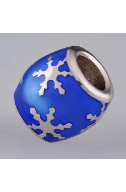Новогодний шарм подвеска снежинка серебро из родированного серебра 925-й пробы с полимером (8823 )