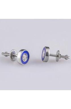 Серебряные гвоздики круг из родированного серебра 925-й пробы с куб. циркониями полимером (282303 )