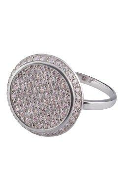 Женский перстень круг фианитов из серебра 15 из родированного серебра 925-й пробы с куб. циркониями (12 27 )