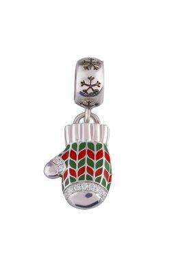Рождественский шарм подвеска рукавичка из серебра из родированного серебра 925-й пробы с куб. циркониями эмалью (88 77 )