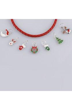 Рождественская подвеска ёлочка из серебра из родированного серебра 925-й пробы с эмалью полимером (382311 )