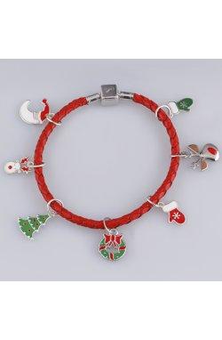 Рождественская подвеска рукавичка с эмалью серебро из родированного серебра 925-й пробы с эмалью (382315 )