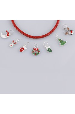 Рождественская подвеска месяц из серебра из родированного серебра 925-й пробы с эмалью (38231 2)