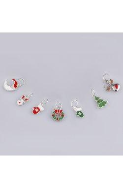 Рождественская подвеска рукавичка из серебра из родированного серебра 925-й пробы с эмалью (3823152 1)