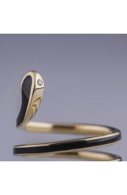 Золотое кольцо змея с черной эмалью из желтого золота 585-й пробы с бриллиантом эмалью ( 892)