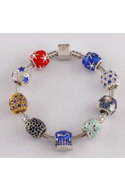 Шарм подвеска звёздная серебро из родированного серебра 925-й пробы с куб. циркониями эмалью (88 682 1)