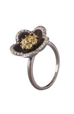 Перстень с цветком серебро 15 из родированного серебра 925-й пробы с куб. циркониями (12 382 1)