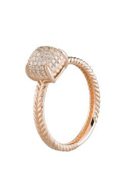 Золотой женский перстень с россыпью камней 15 из красного золота 585-й пробы с бриллиантом (1523273)