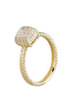 Женский перстень с россыпью камней жёлтое золото 15 из желтого золота 585-й пробы с бриллиантом (1523272)