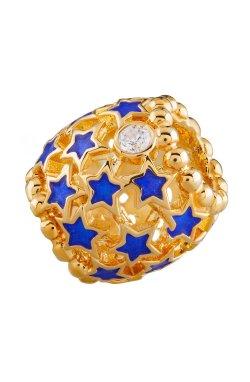 Новогодний шарм подвеска из серебра звёздная из родированного серебра 925-й пробы с куб. циркониями полимером (88 662 2)