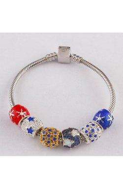 Новогодний шарм подвеска звёздная из серебра из родированного серебра 925-й пробы с куб. циркониями полимером (88 662 1)