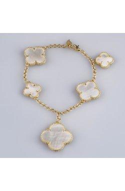 Золотой браслет с подвесками клевер из желтого золота 585-й пробы с перламутром (5723282)