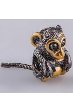 Серебряный шарм подвеска обезьянка из родированного серебра 925-й пробы с куб. циркониями (8 23 2)