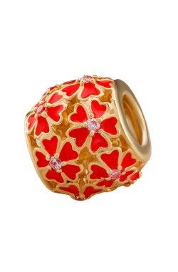 Серебряная бусина для браслета красная из родированного серебра 925-й пробы с куб. циркониями эмалью (88 672 4)