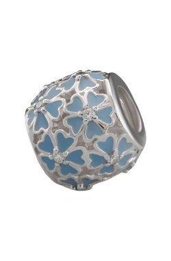 Серебряная бусина для браслета голубая из родированного серебра 925-й пробы с куб. циркониями эмалью (88 672 2)