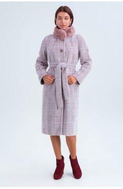Пальто женское Эльза марсала (лапка) - зима