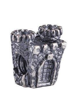 Серебряный шарм подвеска старый замок из родированного серебра 925-й пробы (81 29 )