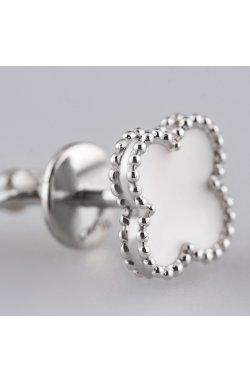 Срібні сережки пусети конюшина з білою емаллю из родированного серебра 925-й пробы (28 79 )