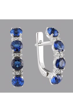 Срібні сережки доріжки з синім камінням из родированного серебра 925-й пробы с куб. циркониями ( 38 )