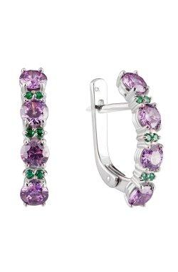 Срібні сережки доріжки з фіолетовим камінням из родированного серебра 925-й пробы с куб. циркониями ( 382 6)
