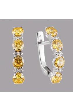 Срібні сережки доріжки з жовтим камінням из родированного серебра 925-й пробы с куб. циркониями ( 382 4)