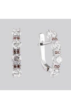 Сережки доріжки з великим камінням серебро из родированного серебра 925-й пробы с куб. циркониями ( 382 2)