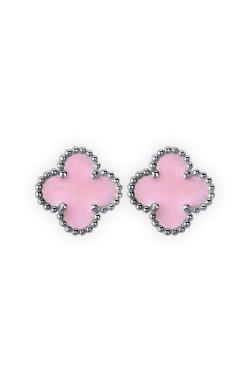 Срібні сережки пусети конюшина з рожевою емаллю из родированного серебра 925-й пробы с эмалью (28 792 1)