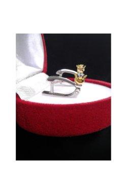 Срібні сережки з діамантами тюльпан у золотому бутоні из родированного серебра 925-й пробы с бриллиантом (25 54 )