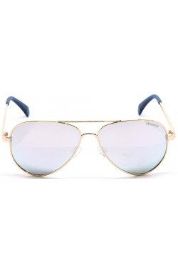 Солнцезащитные очки женские Polaroid PLD8015/N/NEW-J5G-EX - авиаторы, Цвет линз - серый