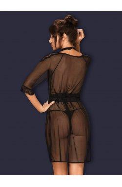 Lucita пенюар чорний Obsessive (S/M)