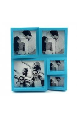 "Фоторамка ""The Brightest Moments"" голубая на 5 фото - wws-335"