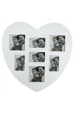 Фоторамка Сердце, белая - wws-371