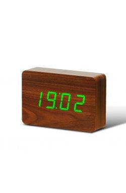 "Смарт-будильник с термометром ""BRICK"", коричневый - wws-8019"