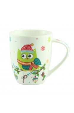"Чашка ""Совушка"" зеленая, фарфор, 10 см - wws-8613"