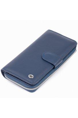 Вертикальный вместительный кошелек из кожи унисекс ST Leather 19301 Синий