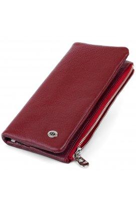 Вертикальный кошелек на кнопке женский ST Leather 19204 Бордовый