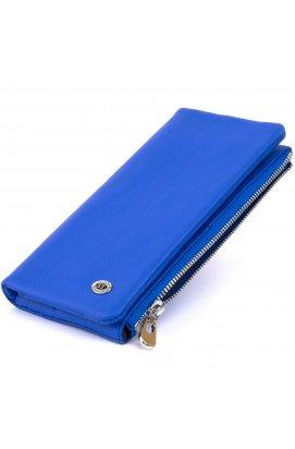 Вертикальный кошелек на кнопке унисекс ST Leather 19205 Синий