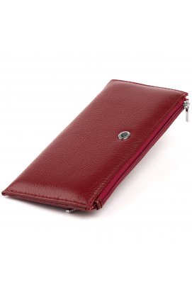 Горизонтальный тонкий кошелек из кожи женский ST Leather 19326 Бордовый